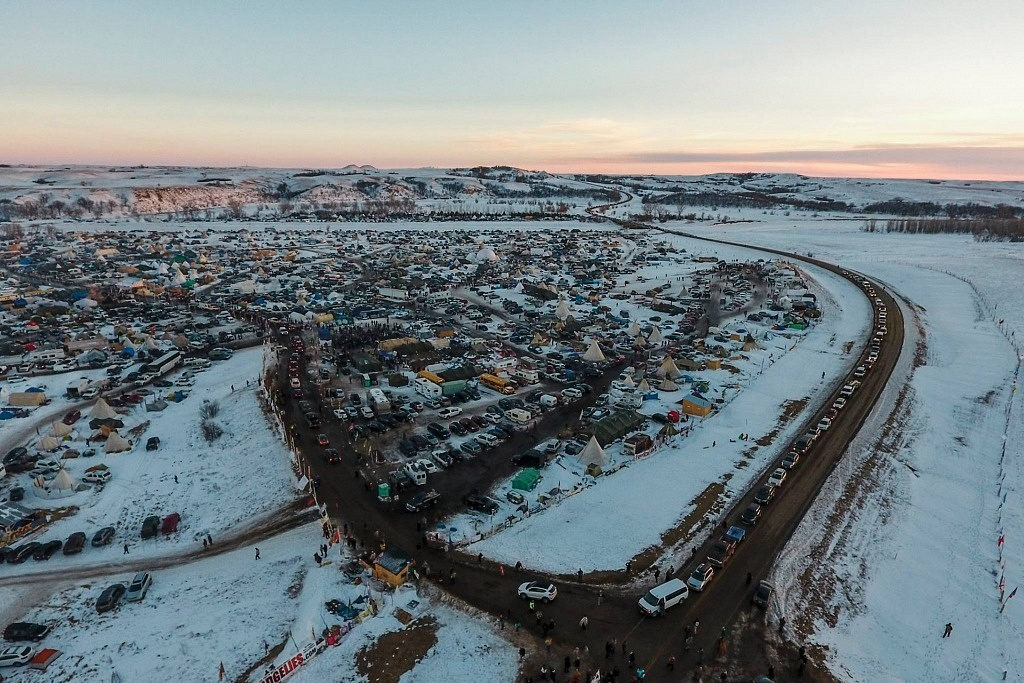 The Standing Rock Camp was covered in snow for weeks during the protests.